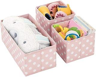 mDesign boîtes de rangement (lot de 3) pour chambre d'enfants, salle de bain, etc. – module de rangement à pois – boîte en...