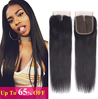 FQ Peruvian Straight Human Hair 4x4 Lace Closure 20inch Middle Part 150% Density Unprocessed Human Hair Closure Double Weft Top Swiss Lace Closure(20
