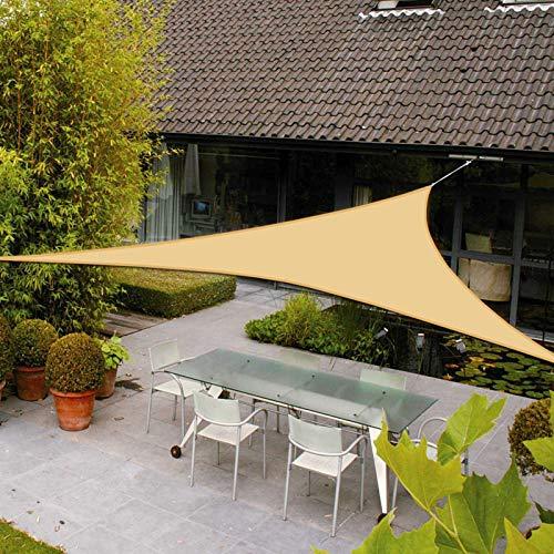 AXT SHADE Toldo Vela de Sombra Triangular 3,6 x 3,6 x 3,6 m, protección Rayos UV Impermeable para Patio, Exteriores, Jardín, Color Arena