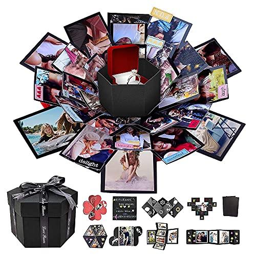 AIOR Explosion Box Surprise Box Negro Creativo DIY Regalo hecho a mano Álbum de recortes y álbum de fotos Día de San Valentín Matrimonio Navidad Cumpleaños Regalo de graduación (6 lados)