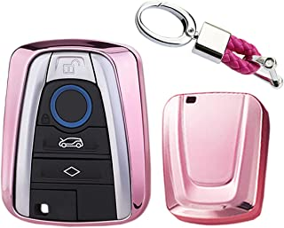MODIPIM Keyless Entry Remote Cover Soft TPU Key Fob Case With Braided Cord Keychain For BMW i3 i8 4-Buttons Smart Key Color Pink