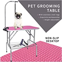 LEIBOU Pet Dog Grooming Table Foldable Grooming Table Heavy Duty Stainless Steel Frame with Arm & Noose & Mesh Tray for Dog Cat Pet Grooming (32