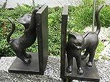 Buchstützen Bücher Leseratte Set Paar Katze Kater Katzenpaar Antik Stil H 22 cm