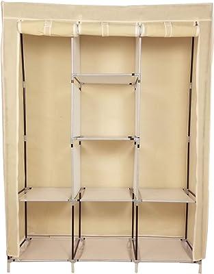 Royaldeals Metal Frame 3 Door Collapsible Wardrobe/Foldable Cupboard/Storage Wardrobe/Fabric Almirah/Cloth Stand (Big 8 Shelves) - Beige
