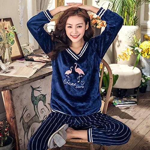 Wenhua Pajamas Mujer, Pijamas Femeninos de Dibujos Animados en otoño e Invierno, Flamingo-XXL, Fashion Pijama de Mujer Conjunto de Dos Piezas Ropa de Dormir