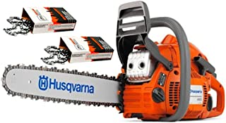 "Husqvarna 445e-Series II (50cc) Cutting Kit Includes Chainsaw, 18"" Bar/Chain Plus 3 WoodlandPRO Chain Loops"