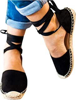 Womens Ankle Wrap Espadrilles Ballet Flat Lace Up Cut Out Pointed Toe Classic Sandals Summer Shoes