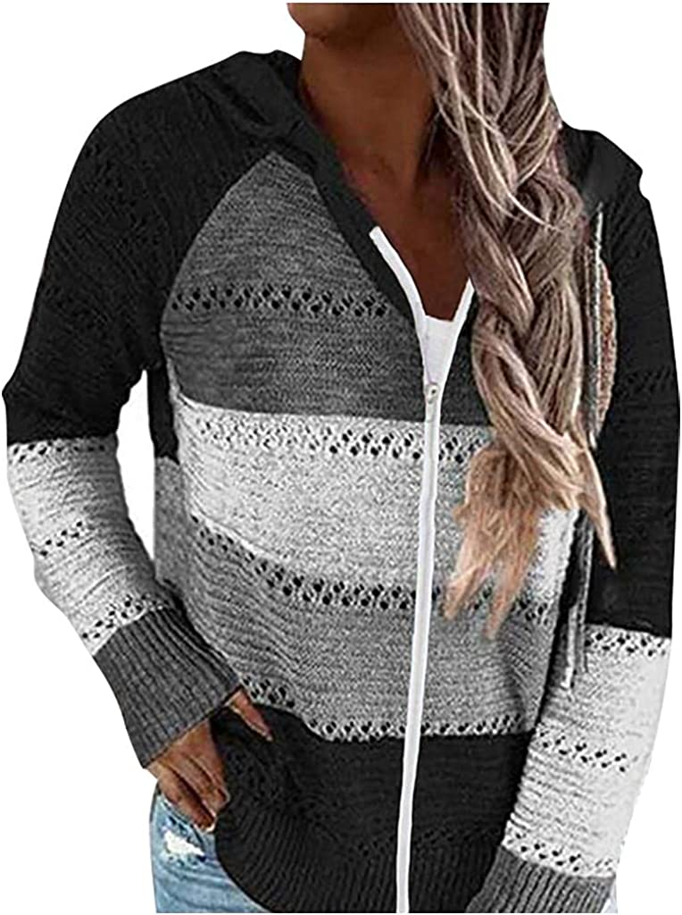 Aukbays Sweaters for Women Cardigan, Womens Striped Color Block Hoodies Fashion V Neck Knit Sweater Zip up Sweatshirts Hoodie
