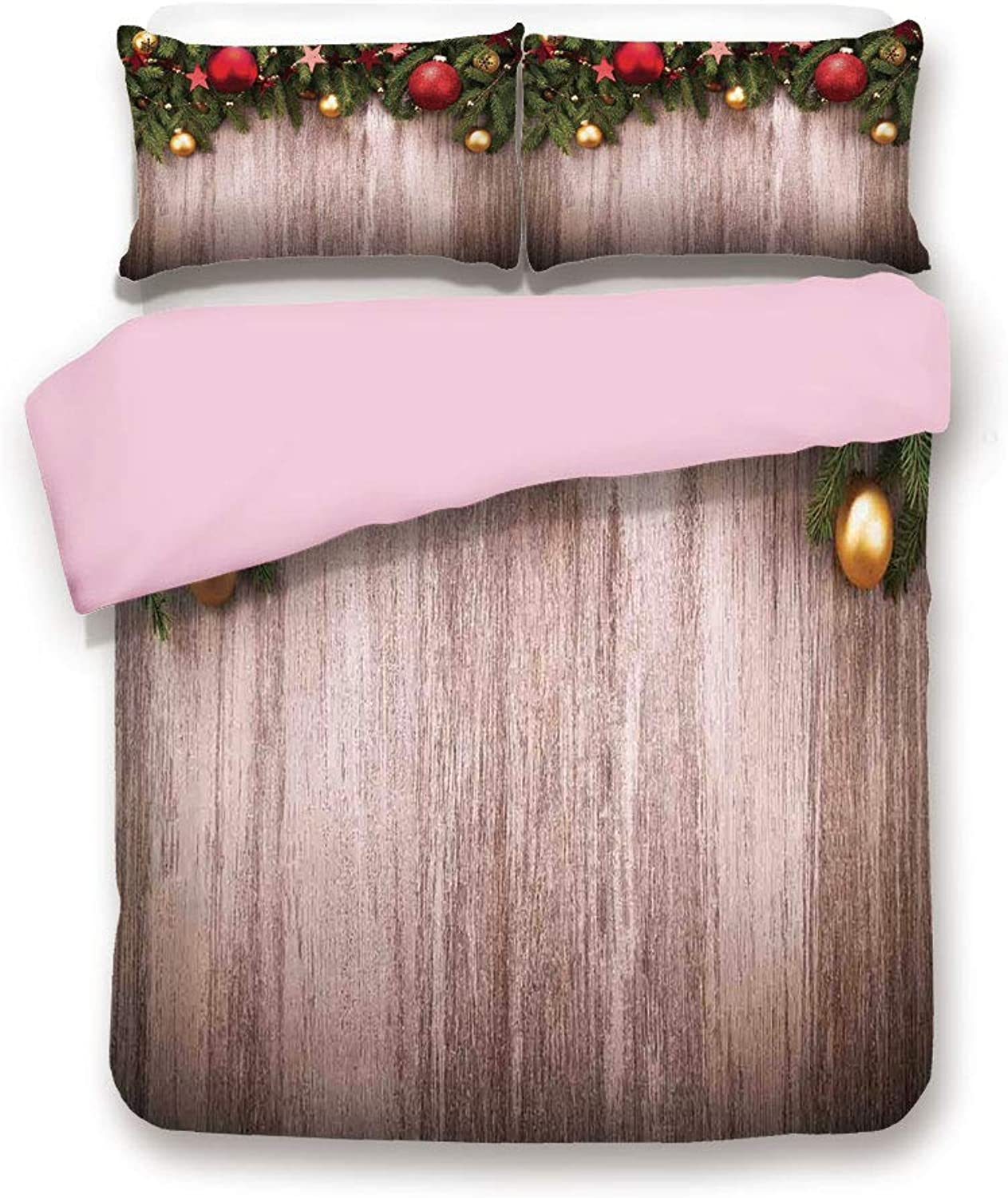 Pink Duvet Cover Set,Queen Size,Xmas Ornaments Over Wooden Rustic Board Backdrop with Stars Goodwill Print,Decorative 3 Piece Bedding Set with 2 Pillow Sham,Best Gift for Girls Women,Brown Green Red