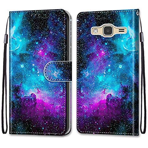 Telefono Custodia per Samsung Galaxy J3 2016 Chiusura Magnetica Custodia Shock-Absorption Protettiva Flip Case Portafoglio Cover Supporto PU Pelle Caso per GalaxyJ3 2016,Cielo Stellato Viola