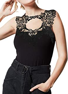 AGQT Women Lace Details Tank Tops Sleeveless Summer Hollow Cut Out Blouse Casual Camis Shirts