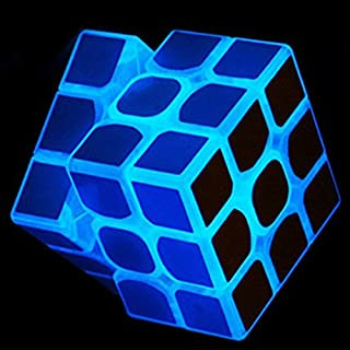 SHUYUE 3x3 Blue Fluorescent Speed Cube Glow in Dark Magic Speed Cube 3-D Brain Teasers IQ Puzzles for Kids and Adults
