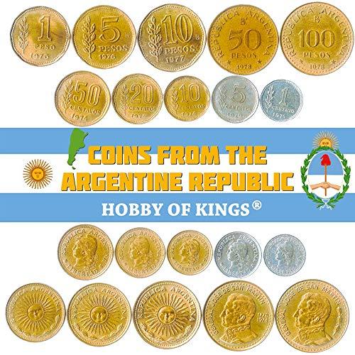 Hobby of Kings Set di 10 Monete dall'Argentina. 1, 5, 10, 20, 50 centavos, 1, 5, 10, 50, 100 pesos. 1970-1981