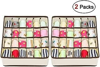 Drawer Organisers Dividers - Joyoldelf 2 Packs Wardrobe Organiser, 24 Cell Collapsible Closet Cabinet Organizer Underwear Storage Boxes for Storing Socks, Bra, Handkerchiefs