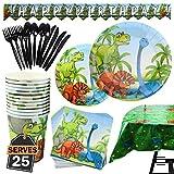 Kompanion Set de 177 Piezas de Fiesta Diseño de Dinosaurio, Incluye Pancarta, Platos,Vasos, Cubiertos, Servilletas,Mantel, Cucharas, Tenedores y Cuchillos, 25 Personas