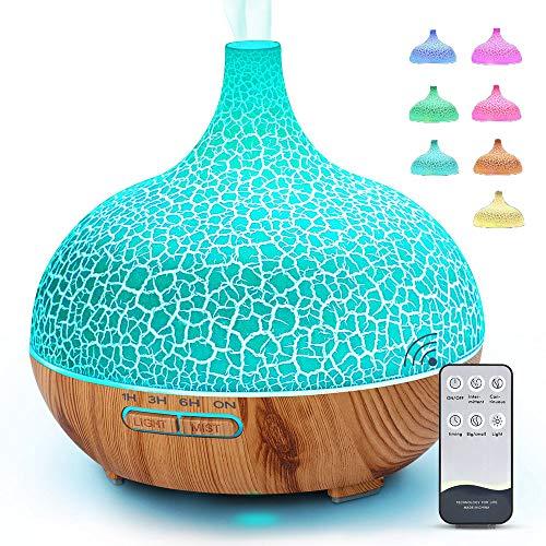 MANLI Aroma Diffuser 400ml Diffusor Luftbefeuchter Öle diffuser mit fernbedienung Air Humidifier Leise Raumbefeuchter Diffusor mit 7 Farben LED-Licht für Kinderzimmer Schlafzimmer Yoga Spa Salon