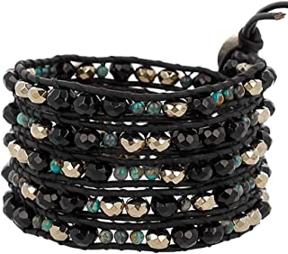 Black & Goldtone with Green Mineral Stone Beaded Black Leather Silvertone Wrap Bracelet