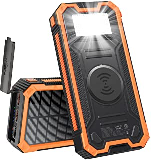 FSDELIV Solladdare 30 000 mAh, PD snabbladdning, bärbar solbank med LED-ficklampa, vattentät hög kapacitet dubbel snabblad...