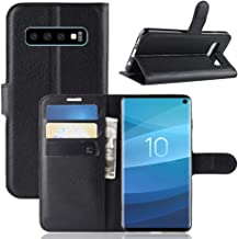 Galaxy S10 Wallet Case, PU Leather Phone Case [Card Slot] [Flip] [Stand] Carry-All Case [TPU Interior Protective Case] [Magnetic Closure] for Galaxy S10, Black