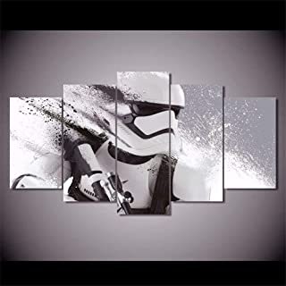 XDXART 5 pcs Home Decor Pictures Canvas Printed Painting, Decor Art - Star Wars Stormtrooper Cartoon Wall Art Oil Paintings Printed Pictures (without wooden frames) (12x16x2p+12x24x2p+12X32inch)
