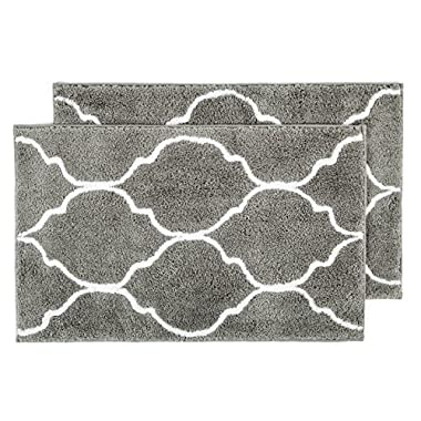 Hihome Grey Area Rugs Gray 2-Pack Doormat Rubber Backing Entrance Rug Non-slip Indoor Rug Non-skid Bath Rug