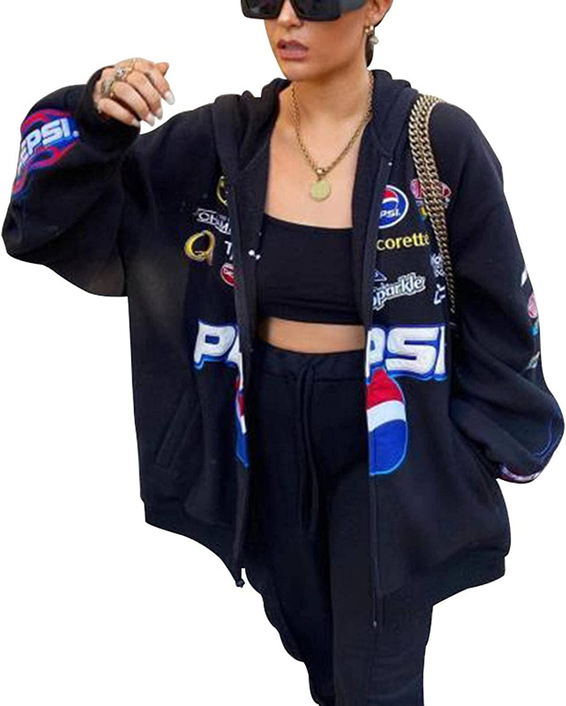 Y2K Women Casual Loose Long Sleeve Hooded Jacket Letter Printed Jackets Oversized Coat Women Sweatershirts
