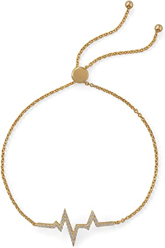 salida para la venta Pulsera de de de plata esterlina intermitente dorada ajustable de 15,5 mm x 29,5 mm con circonita cúbica con Diseño de latido de corazón  diseñador en linea