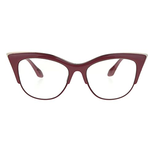 a6690866d387 SA106 Womens High Point Squared Half Rim Look Cat Eye Glasses