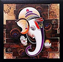 NOBILITY Ganesha Framed Painting - Wall Art Statue 12x12 Inch