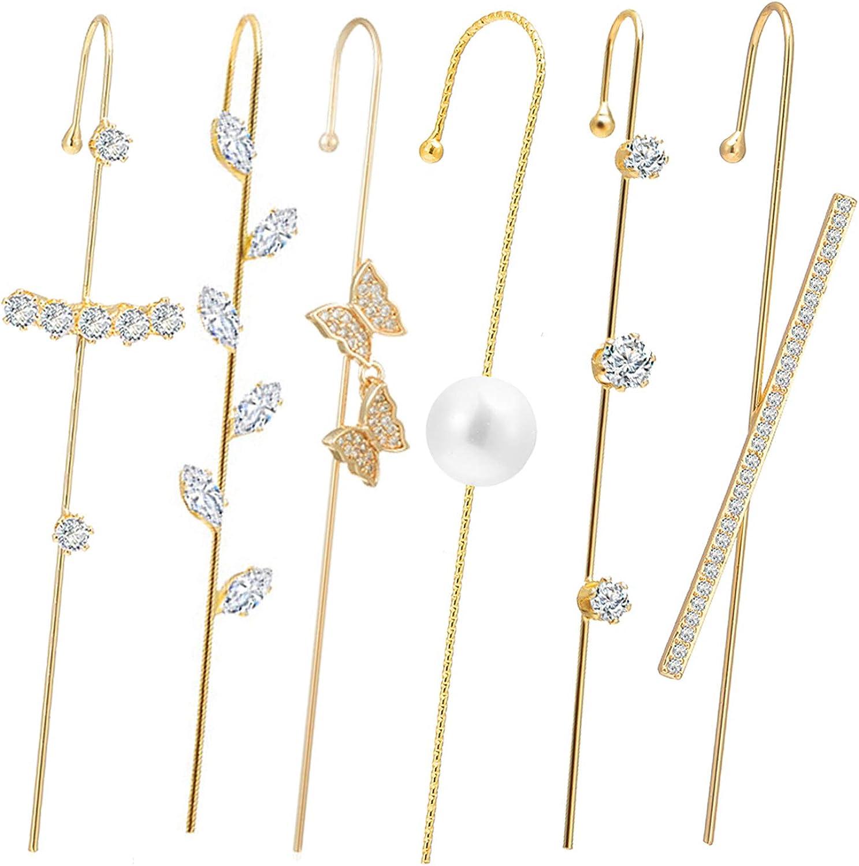 Ear Cuff Crawler Hook Earrings for Women,Hypoallergenic Piercing Ear Wrap Climbers Earrings Simple Pearl Cubic Zirconia Rhinestone Hoop Earrings