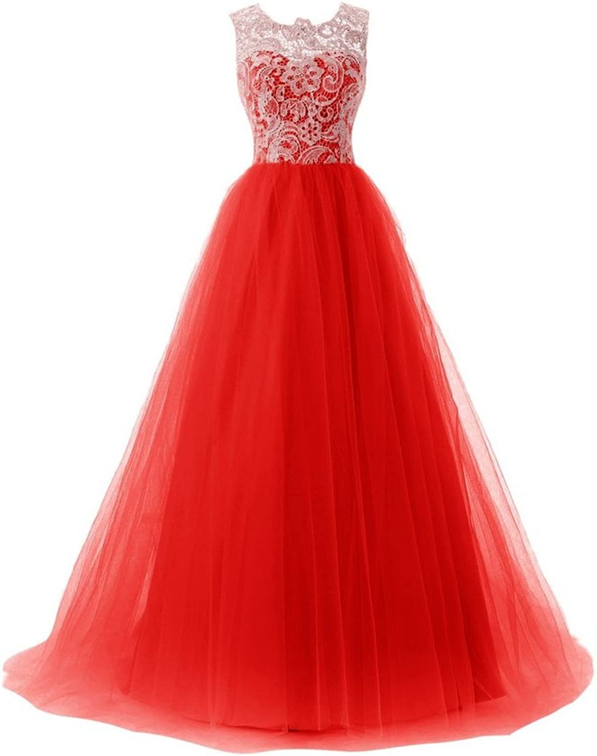 Anna's Bridal Women's Tulle Lace Prom Dresses Ball Gown Quinceanera Dress