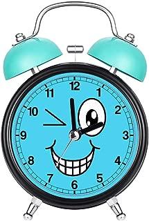 VEALO Child Blue Colors Alarm Clock Vintage Retro Silent Pointer Clocks Round Number Dual Bell Loud Alarm Clock Bedside Night Light Home DecorsCrazy Winking Cartoon Smiley Face Wristwatches