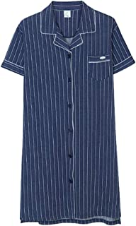 Shirt-Style Nightdress, Women's Cotton Short-Sleeved Nightgown, Striped Summer Thin Robe, Casual Home wear, Soft and Comfortable, high-Quality Fabric (Color : Blue, Size : M)