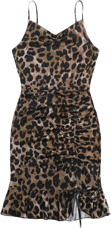 SheIn Women's Leopard Ruched Drawstring Sleeveless Ruffle Hem Short Cami Dress