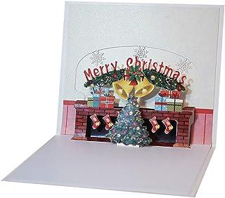 Vosarea Tarjeta de felicitación de 1 PC Tarjeta de Papel de Chimenea ecológica Hecha a Mano Creativa Tarjetas de Navidad 3D fesival