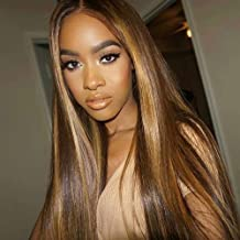 JNM Soft Hair 13x6 Deep part Lace front Wigs Glueless Lace Human Hair Wigs Highlight Ombre Color Wigs Brazilian Remy Straight Wig 150% Density 20Inch
