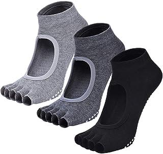 ORUMLIO Calcetines Antideslizantes Algodón Respisable, Calcetines Invisibles para Yoga, Baila, Fitness, Ejercicios, Talla ...
