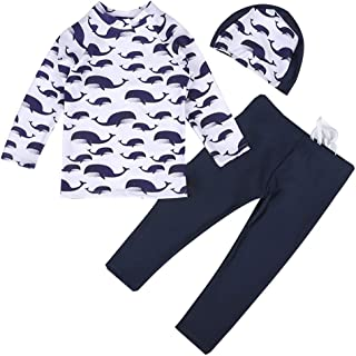Digirlsor Kids Boys Two Piece Rash Guard Swimsuit Bathing Suit Long Sleeve Sunsuit Swimwear Set with Cap,2-10 Years