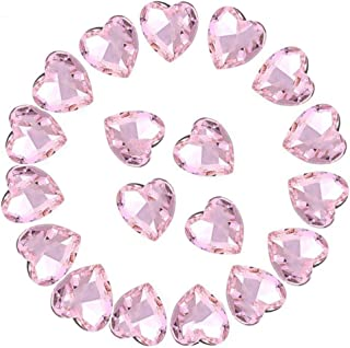 Crystal Rhinestones 50pcs AB Crystals Pointback Heart Glass Rhinestone for DIY Crafts Jewelry Making,12mm,Pink