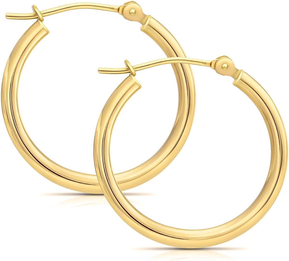 14k Gold Hoop Earrings, (0.6