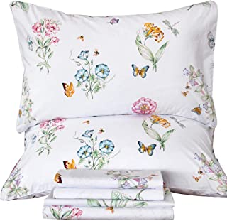 Floral Butterfly Sheets Sets Egyptian Cotton Printed Deep Pocket Bed Sheet Set —Queen Size ,Sheet I