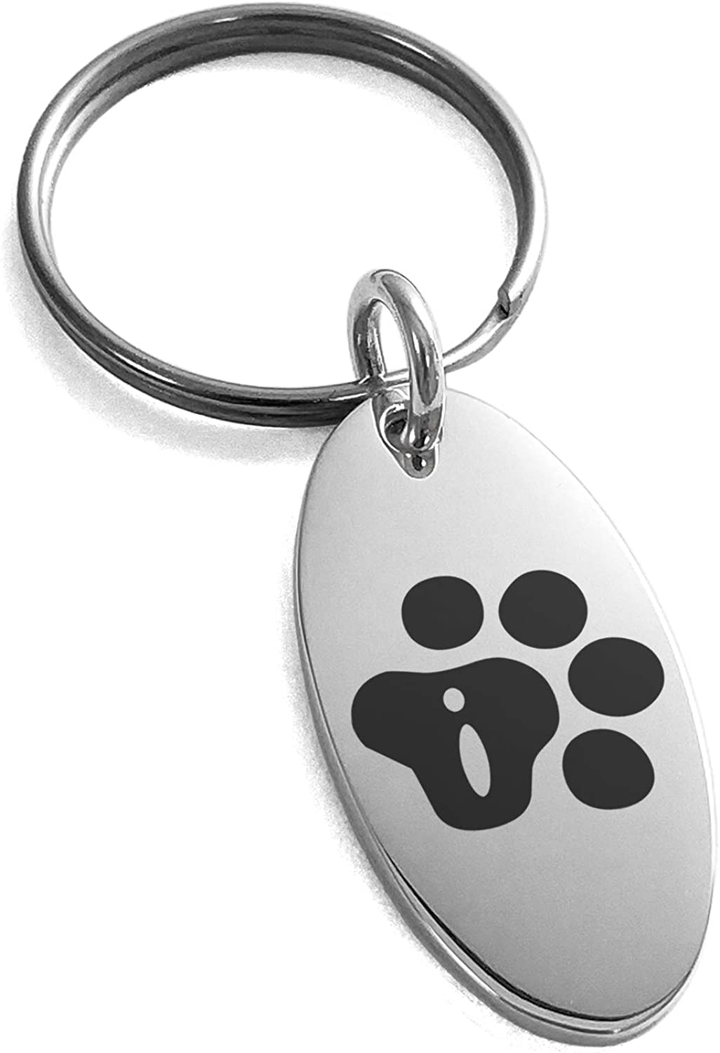 Tioneer Stainless Steel Letter I Initial Cat Dog Paws Monogram Small Oval Charm Keychain Keyring