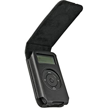 iGadgitz Black Genuine Leather Case Cover for Pure Move 2500 2520 Rechargeable Personal Digital DAB/FM Radio