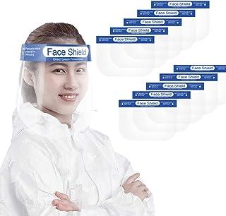 mewmew 防災面 10枚 スプラッシュシールド 顔面保護マスク フェイスシールド 曇り止め 透明 目を保護 軽量 通気性 安全 簡単装着 調整可能
