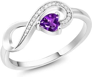 Gem Stone King 10K White Gold 0.22 Ct Heart Shape Purple Amethyst Diamond Infinity Ring (Available 5,6,7,8,9)