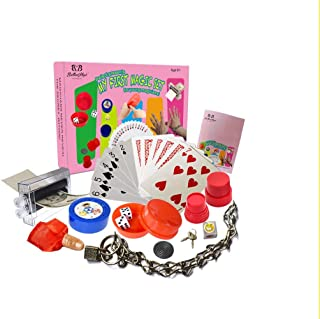 Jufang Kids Magic Kit in Pink Color Magic Box Contains Seven Classic Easy Magic Props for Young Magicians Magic Show A Cool Magic Tricks Set for Kids Ideal Toy Gifts Collection Novelty Toys