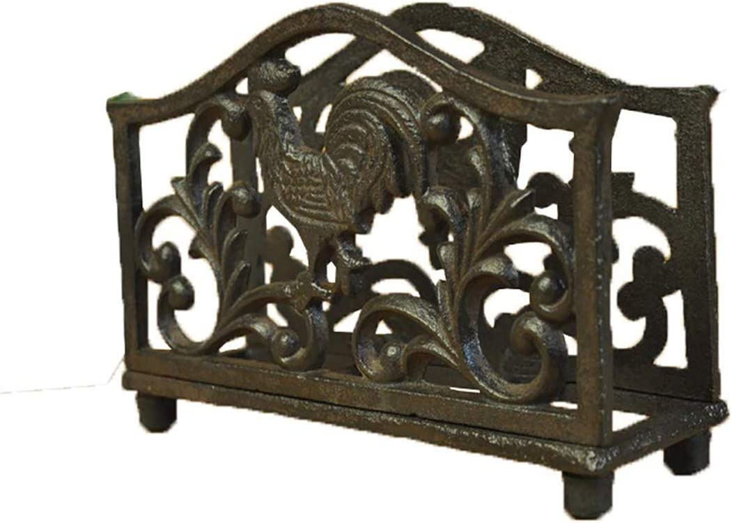 Multii Home Basics Sturdy Cast Iron Standing Napkin Holder Primitive Rooster Décor for Kitchen   Dining Table   Countertop with 4 Robber Feet Protect Your Dining Table from Scraped