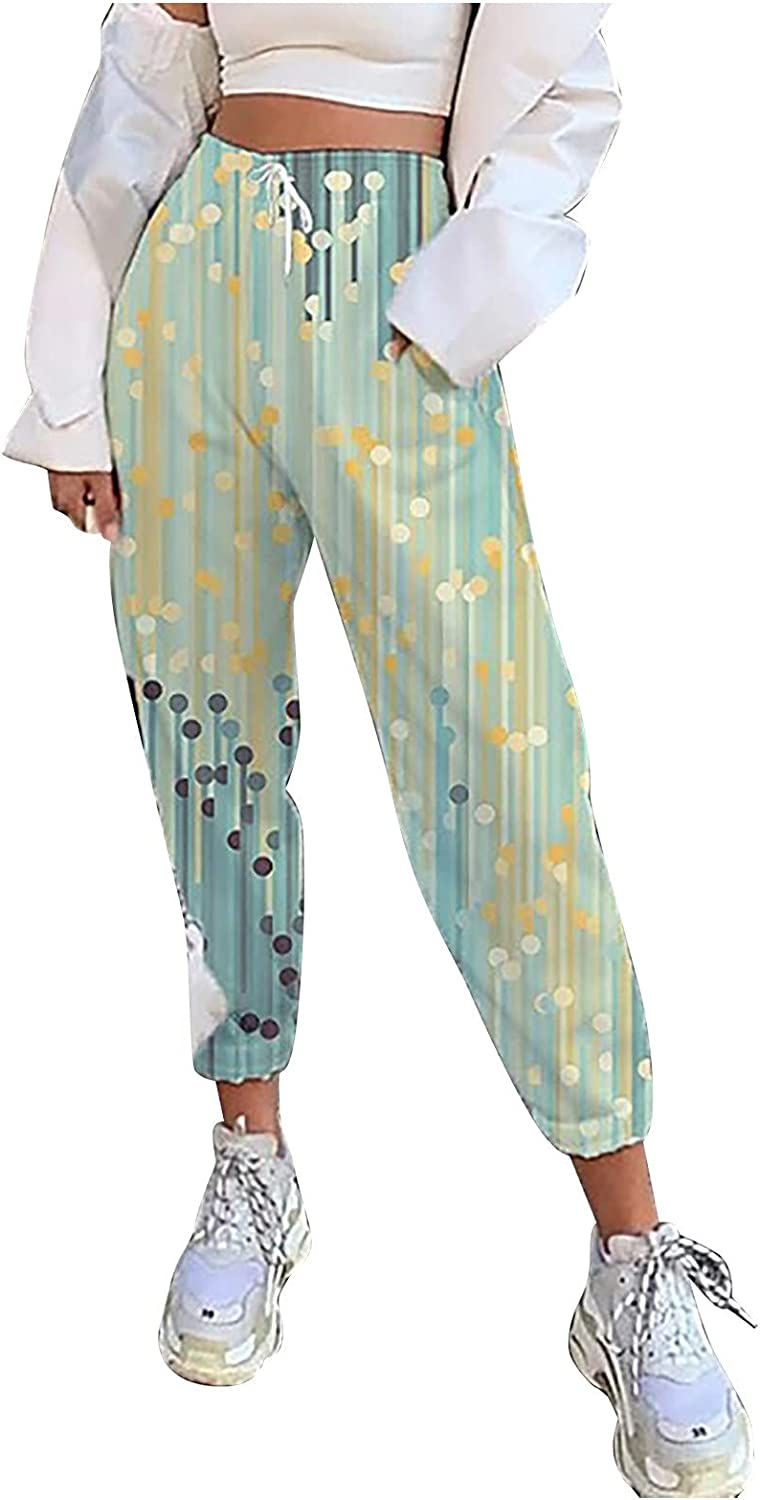 Suncih Women's Casual Capris for Women Strapping Trousers with Elastic-Waisted Print Trousers Pants