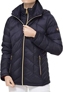 MICHAEL Michael Kors Quilted Nylon Packable Hooded Puffer Jacket - Dark Navy