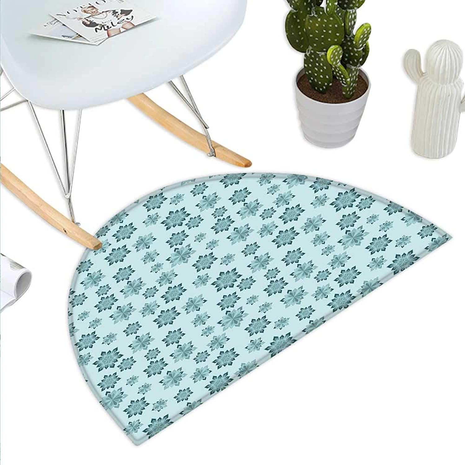 Teal Semicircle Doormat Wintertime Inspiration Ornate Abstract Snowflakes in Pale colors Christmas Halfmoon doormats H 39.3  xD 59  Pale bluee Teal Grey